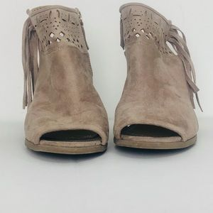 Not rated tan ankle boots size 8 1/2 wide peep toe